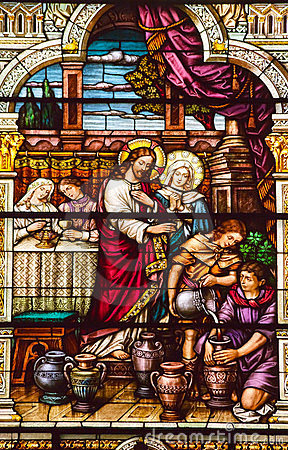 Free Jesus Cana Stained Glass S Peter Paul Church Stock Image - 23907911