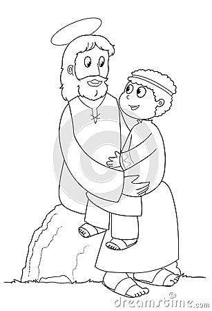 Jesus and child - BW