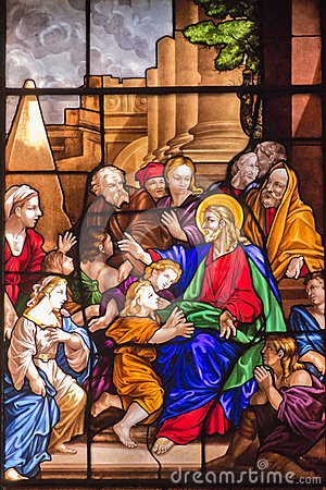 Jesus Christ and Children Stained Glass Window