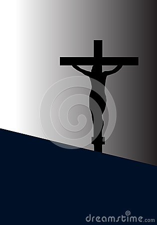 Jesus Christ on The Cross in Silhouette Tone Vector