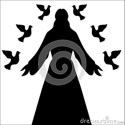 Jesus Christ & Doves Silhouette