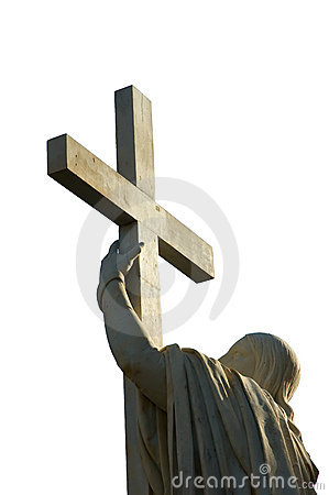 Jesus Christ holds passion cross
