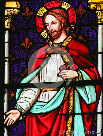 Jesus Christ - Stained Glass in Mechelen Cathedral Stock Photo
