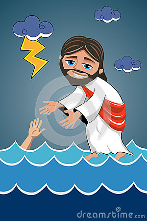 jesus christ walking water saviour stock vector image