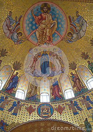 Free Jesus Christ With Archangels And Apostles. Fragment Of Painting Of The Main Dome Of The Cathedral Of St. Nicholas In Kronstadt Royalty Free Stock Image - 90140736