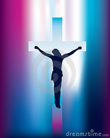 Jesus cross on crucifix with abstract beam of ligh