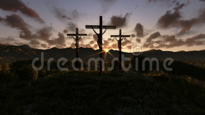 Jesus on Cross, meadow with olives, timelapse night to day zoom out, stock footage. Video