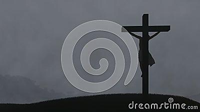 Jesus cross, night storm with lightnings. Hd video stock video