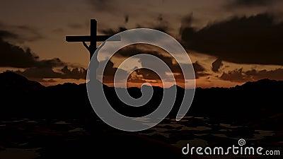 Jesus on Cross, timelapse sunrise. Camera fly stock video