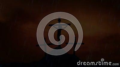 Jesus on the Cross Under a Lightning Storm and Rain vector illustration