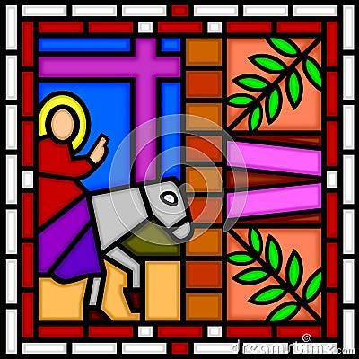 Jesus die Jeruzalem ingaat
