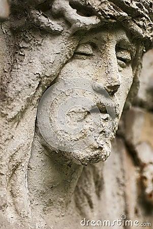 Jesus face statue