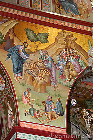 Jesus feeds the Multitude, fresco