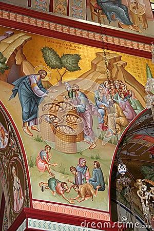 Free Jesus Feeds The Multitude, Fresco Stock Photography - 11036512