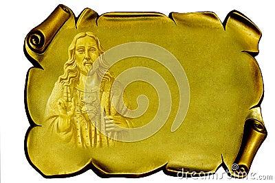 Jesus on a golden plaque