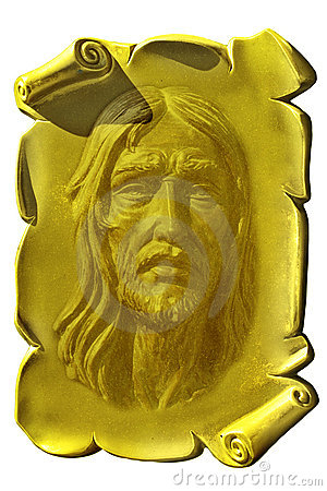 Jesus on a golden plaque