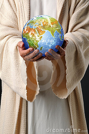 Free Jesus Hands Holding Earth Stock Photography - 11158182