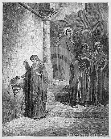Jesus Last Days in the Temple; The Widow s Mite Editorial Photo
