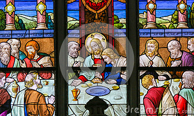 Jesus at Last Supper on Maundy Thursday - Stained Glass in Meche Stock Photo