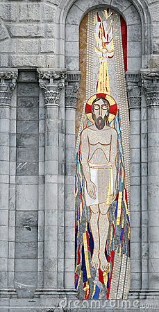 Jesus mosaic left of entry of the Lourdes Basilica