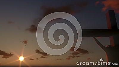 Jesus op Kruis, sluit omhoog, timelapse wolken bij zonsondergang, panning, voorraadlengte