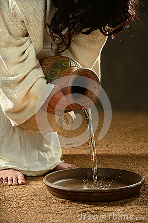 Jesus Pouring Water into Container