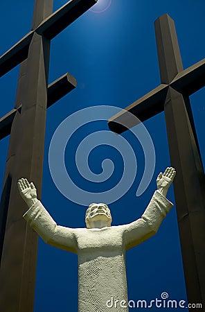 Jesus and three crosses