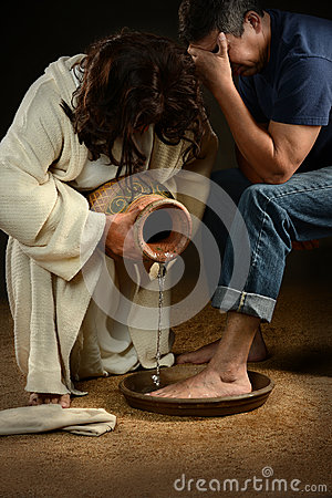 Free Jesus Washing Feet Of Man Stock Images - 27448904