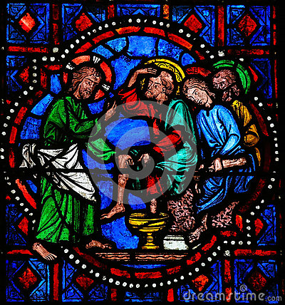 Free Jesus Washing Feet Of Saint Peter On Maundy Thursday - Stained G Stock Images - 44926764