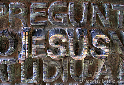 Jesus written in metallic letters