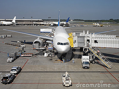 Jet Aircraft at Narita Airport in Tokyo in Japan Editorial Image