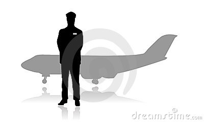 Jet Airline Pilot Or Aviator Silhouette Stock Photos - Image: 9428853