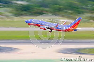 Jet airliner taking off