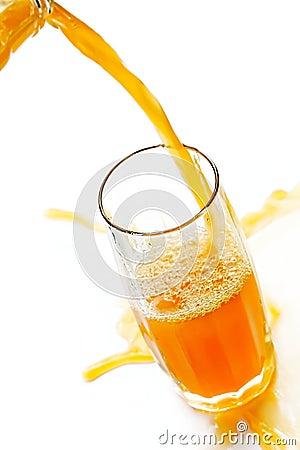 Jet of cold orange juice