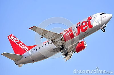 Jet2com airline company boeing aircraft flying sky Editorial Photo