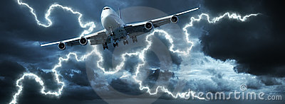 Jet cruising in a dark stormy sky