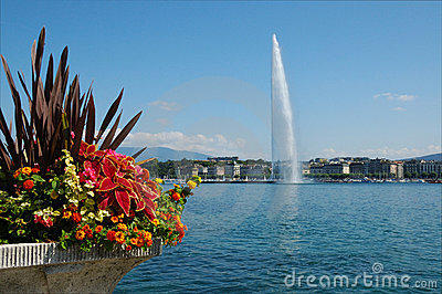Jet d Eau Fountain in Geneva