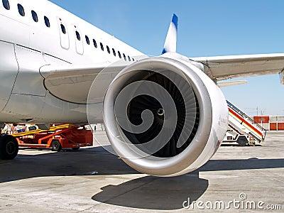 Jet engine at aircraft