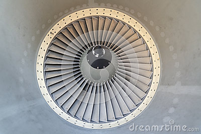 Jet engine of airplane