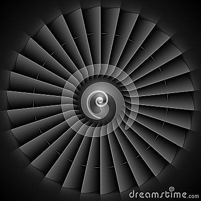Jet engine turbine blades Vector Illustration