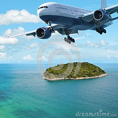 Jet over the island