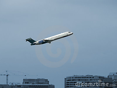 Jet plane in flight - take off from airport