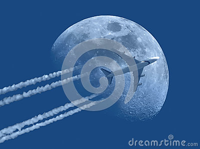 Jet plane and the Moon
