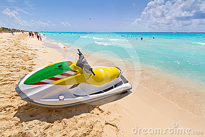 Jet ski on the Caribbean beach