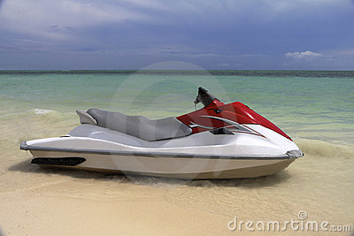 Jet Ski waiting at the shore