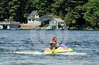 Jet skiier on a blue lake