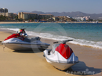Jet skis on the beach