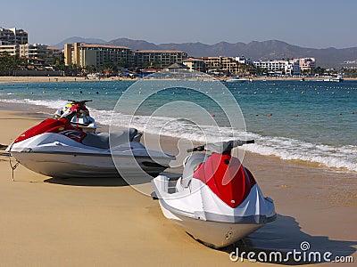 Jet skis on the beach