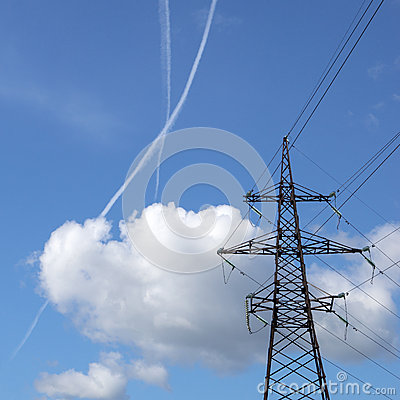 Jet-traces in the sky near power transmission line