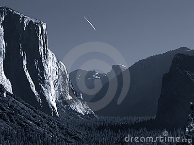 Jet trail over Yosemite